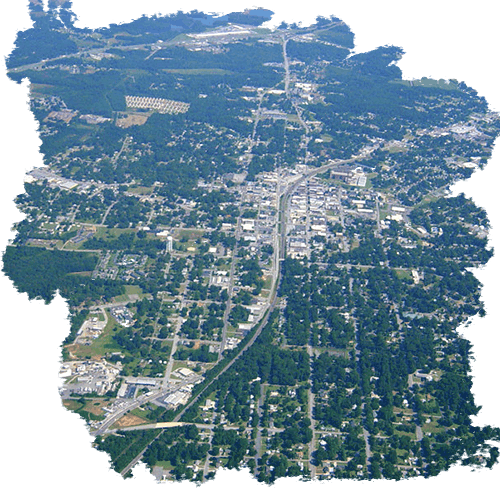 aerial photo of the city of Gaffney in South Carolina