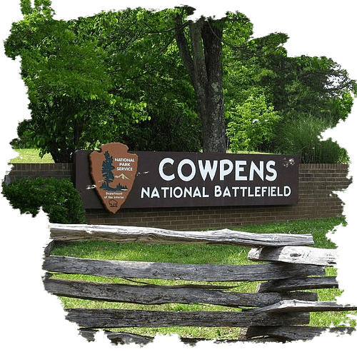 sign before you enter the Cowpens National Battlefield in Gaffney South Carolina