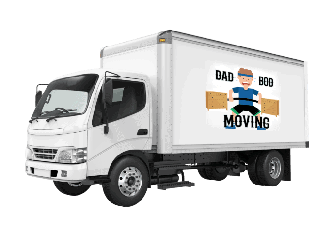 A white moving truck with the Dad Bod Moving logo on the side